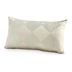 Harlequin Shine Pillow - A coy play of texture yields a seamless mix of Greek key with alternating diamond designs in the Harlequin Shine Pillow - a geometric accent which, in accordance with its name, has a sumptuous sheen to its fabric. Create a subtly-tinted focal point in your room with the sage green hue of this beautiful rectangular accent pillow, well-proportioned for a bed or loveseat.