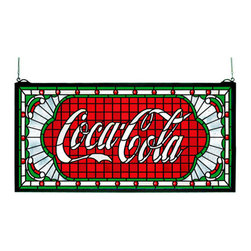 """Meyda Tiffany - Meyda Tiffany 106231 Rectangular Victorian Web Stained Glass Window Coc - *One of the most recognizable and iconic symbols of our time """"Coca - Cola"""" a true American original has teamed up with another true American original """"Meyda Tiffany"""" to offer these beautiful one of a kind stained glass windows"""