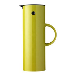Stelton - Stelton EM77 Vacuum Jug 32 oz - Lime - Keeps beverages hot or cold thanks to the double wall systemIncludes patented rocker stopper. The rocker stopper is magnetized so it opens when in the pour position and automatically closes when in the upright position which keeps the hot or cold air from escaping out of the thermos. Besides the rocker stopper, unit comes with a 'picnic' screw cap for take out. Made in Denmark.