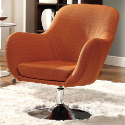 "Coaster - Swivel Chair, Orange - Give your living room a slightly retro style with the orange swivel chair. This accent chair has comfortable seating and a stunning chrome base.; Finish/Color: Orange; Upholstery: Linen-like Fabric; Dimensions: 29""L x 28""W x 32.75""H"