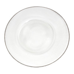 """Saro - Pleated Glass Charger Plate, Silver Rim - 13"""" - Add texture and sheen to the table with our pleated glass charger plate. Made of recycled glass and features a silver rim."""