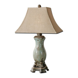 Uttermost - Uttermost 27395 Andelle Light Blue Glaze Table Lamp - Uttermost 27395 Andelle Light Blue Glaze Table Lamp