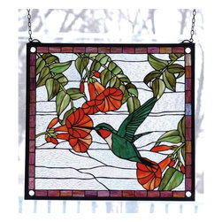 "Meyda Tiffany - Meyda Tiffany 81540 Stained Glass Tiffany Window Birds Collection - 21"" W X 19"" W Sweet Hummingbird WindowA Ruby Throated, Emerald Green Hummingbird Sips Nectar From Scarlet Trumpet Flowers Against A Crystalline Sky In This Charming Meyda Tiffany OriginalIncludes Mounting Brackets and Chains"