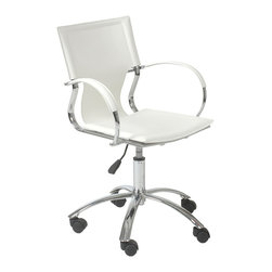 Euro Style - Euro Style Vinnie Office Chair 17210WHT - It's too perfect to call 'basic'. But the clean, simple lines and smooth leather seat, back and armrests say a lot about your office. Straightforward. No nonsense. And undeniably fashion forward.