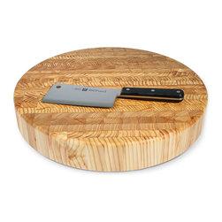 Larch Wood Round Butcher Block - Larch wood 18-1/4 x 2-1/2 inch round butcher block.