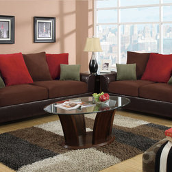 Bobkona Living Room Furniture - Embedded by a smooth espresso bonded leather block structured frame, this sofa set features large plush pillow back supports and seating covered in a deep rich microfiber with vibrant accent pillows.