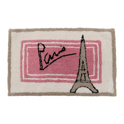 Sherry Kline - Sherry Kline Paris Cotton 20 x 30 Bath Rug - This 20x30 bath rug features a soft, cotton feel. The water-absorbent bathroom accessory is crafted with a Paris Eiffel Towel design in pink, tan and an off white shade with striped accents.
