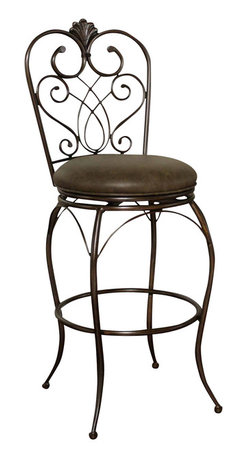 """American Heritage - American Heritage Solace Stool in Clay with Coco Bonded Leather - 26 Inch - Add a bit of exotic Moroccan style to your decor with this delicate but tough curved metal stool. Clay finish with 3"""" cushion in Coco, Full-bearing 360� swivel construction, Adjustable leg levelers, and durable Uniweld construction."""