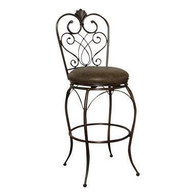 "American Heritage - American Heritage Solace Stool in Clay with Coco Bonded Leather - 26 Inch - Add a bit of exotic Moroccan style to your decor with this delicate but tough curved metal stool. Clay finish with 3"" cushion in Coco, Full-bearing 360� swivel construction, Adjustable leg levelers, and durable Uniweld construction."