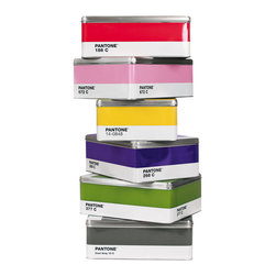 """Pantone Tin Box - Your favorite design fan will flip over these very accurately colored Pantone tin boxes. They are large enough for standard (8.5""""x11"""") paper storage."""