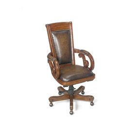 Hooker Furniture - Executive Swivel Tilt Chair - Leather: Derby Randwick (Brown Wipe on)