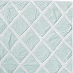 Serena & Lily - Aqua Diamond Quilt - Rows of diamonds are appliqued by hand on this thick and lofty cotton quilt, creating wonderful imperfections and texture. The percale is stonewashed for incredible softness. Aqua diamonds appliqued on white; solid white on reverse.