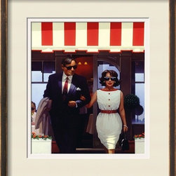 Artcom - Lunchtime Lovers by Jack Vettriano - Lunchtime Lovers by Jack Vettriano is a Framed Art Print set with a CIRRUS Bronze and Gold frame and Pale Yellow (cream core) and Cream Core-Polar White matting.