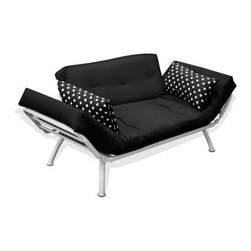Mali Flex Combo Futon - Black w/White Polka Dots - Decide exactly how much you feel like kicking back and relaxing and let the Mali Flex Combo Futon - Black w/White Polka Dots rise to the challenge. This multi-purpose futon offers you a sofa, lounge, or bed, thanks to the adjustable arms on the lightweight metal frame. The deep main and back cushions have a jet black cover that is nicely contrasted by the simple but classic polka dot pattern on the arm pillows. The frame is lightweight and powder-coated for rust- and corrosion-resistance.About American Furniture AllianceLocated in Corona, Calif., American Furniture Alliance manufactures a wide range of furniture lines, including futon convertibles, futon mattresses, futon covers and accessories, bean bag chairs, foam furniture, and various accent furniture pieces. Their trademarked lines include Elite Convertibles, Bean Bag Factory, ModFX Foam Furnishings, and the ModernLoft Collection.