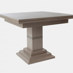 Asti Extending Dining Table, Silver Birch - I'm usually a big fan of round tables, but this square table is fantastic when used in a corner with banquettes.