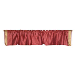 Indian Selections - Pair of Maroon Rod Pocket Top It Off Handmade Sari Valance, 80 X 15 In. - Size of each Valance: 80 Inches wide X 15 Inches drop. Sizing Note: The valance has a seam in the middle to allow for the wider length