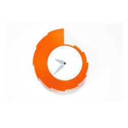 Working Class Studio - Christy Collection Clock - Orange - You might think this striking graphic designer clock looks like it belongs in a retro diner, with its flashy plastic frame shaped into a kind of pompadour like Elvis' hair. The jagged wave form counts for more than just style: Each step represents one more hour of rocking around the clock.