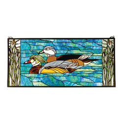 "Meyda Tiffany - 35""W X 16""H Wood Ducks Stained Glass Window - A pair of Brown and Gray Wood Ducks lazily swim in a sparkling Turquoise river. Edged with Marsh Green cattails, this picturesque scene is handcrafted of a beautiful selection of stained art glass. The Meyda Tiffany Original window is framed in solid brass and has brass mounting bracket and chains included."