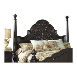 Magnussen - Magnussen Vellasca Poster Queen Headboard in Antique Ebony - Magnussen - Headboards - B177156H - Give your bedroom a stunning focal point with this classy headboard. It features a beautiful Italian style pattern with graceful swirls and curves. The elegantly carved posts add to the beauty. The antique ebony finish perfectly further enhances the refined appeal. This exquisitely designed headboard is artfully crafted from cherry veneers and hardwoods solids. It is easy to clean and requires minimal maintenance.