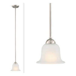 DHI-Corp - Ironwood 1-Light Energy Star Mini Pendant, Satin Nickel - The Design House 515585 Ironwood 1-Light Energy Star Mini Pendant is made of formed steel, snow glass and finished in satin nickel. Energy Star qualified, this 1-light pendant is rated for 120-volts and uses (1) 13-watt GU24 compact fluorescent lamp. Measuring 44.5-inches (H) by 6.75-inches (W), this 2.12-pound fixture can be mounted on its own or with several for a dramatic look. Curved steel accentuates the soft glass to create an elegant centerpiece over a kitchen island, bar or dining room table. Energy Star products meet strict energy efficiency guidelines set by the U.S. Environmental Protection Agency and the U.S. Department of Energy to maintain a greener home. This product is UL and CUL listed and suitable for damp locations. The Ironwood collection features a beautiful matching chandelier, vanity light, wall sconce, wall mount and ceiling mount. The Design House 515585 Ironwood 1-Light Energy Star Mini Pendant comes with a 2-year limited warranty that protects against defects in materials and workmanship. Design House offers products in multiple home decor categories including lighting, ceiling fans, hardware and plumbing products. With years of hands-on experience, Design House understands every aspect of the home decor industry, and devotes itself to providing quality products across the home decor spectrum. Providing value to their customers, Design House uses industry leading merchandising solutions and innovative programs. Design House is committed to providing high quality products for your home improvement projects.
