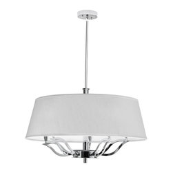 Dainolite - 5 Light Chandelier, Ivory Shade - -Main Body Material: Fabric