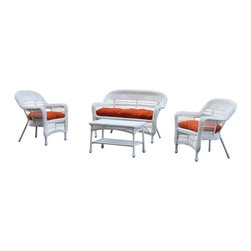 Lemoderno - Fine Mod Imports Portside White 4pc Outdoor Set Orange Cushion - Made of all weather resistant wicker the Portside White Outdoor Set will not only be decorative on you patio but will provide much comfort as well.
