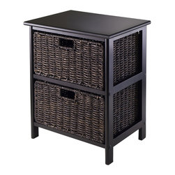 """Winsome Wood - Winsome Wood 20216 Omaha Storage Rack with 2-Foldable Baskets in Black - Simple with plenty of storage for this Omaha Storage rack with Foldable Baskets. Choose from 2, 3 or 4 baskets rack. Baskets open size is 13.98""""W x 10.63""""D x 7.48""""H and Folded size is 23.03"""" x 9.84"""" x 1.97"""". Overall 2 Baskets Storage rack size is 16.73""""W x 12.40""""D x 20.47""""H and Finished in Black color. Rack is made with combination of solid and composite wood. Basket is Corn Husk. Assembly Require."""