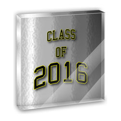 """Made on Terra - Class of 2016 Graduation Mini Desk Plaque and Paperweight - You glance over at your miniature acrylic plaque and your spirits are instantly lifted. It's just too cute! From it's petite size to the unique design, it's the perfect punctuation for your shelf or desk, depending on where you want to place it at that moment. At this moment, it's standing up on its own, but you know it also looks great flat on a desk as a paper weight. Choose from Made on Terra's many wonderful acrylic decorations. Measures approximately 4"""" width x 4"""" in length x 1/2"""" in depth. Made of acrylic. Artwork is printed on the back for a cool effect. Self-standing."""