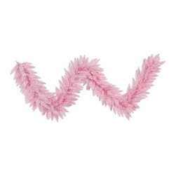 Vickerman 9 ft. Pink Fir Pre-lit Garland - Perfect for fireplace mantles, stairway railings, or porches, the Vickerman 9 ft. Pink Fir Pre-lit Garland makes a lovely addition to your holiday decorations. The PVC foliage is pre-lit with 100 pink mini lights and pink wire. Dimensions: 108L inches.About VickermanThis product is proudly made by Vickerman, a leader in high quality holiday decor. Founded in 1940, the Vickerman Company has established itself as an innovative company dedicated to exceeding the expectations of their customers. With a wide variety of remarkably realistic looking foliage, greenery and beautiful trees, Vickerman is a name you can trust for helping you create beloved holiday memories year after year.