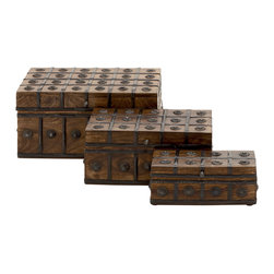 Classy and Arty Wood Metal Box Set Of 3 - Features: