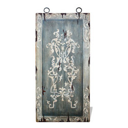 Koenig Collection - Old World Mediterranean Wall Art Panels, Antiqued Blueish Gray with Bone - Old World Mediterranean Wall Art Panels