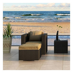 Harmonia Living - Urbana 3 Piece Outdoor Club Chair Set, Weathered Stone Wicker, Beige Cushions - Relax in style with the Harmonia Living Urbana 3 Piece Outdoor Wicker Club Chair Set with Tan Sunbrella cushions (SKU HL-URBNWS-3CC-HB). The modern patio club chair is designed to be very roomy, ensuring total comfort as you unwind. Each set piece features a thick-gauged aluminum frame, which provides stability and incredible corrosion resistance. The resin wicker chair and ottoman include mildew- and fade-resistant Sunbrella cushions in Canvas Heather Beige, with ties to prevent the cushions from slipping. Each strand in the set's sturdy High-Density Polyethylene (HDPE) wicker is infused witha weathered stone color and UV protection, creating a modern look that will not fade or crack in the sun and far surpasses the quality of rattan. Complete with brushed aluminum feet outfitted with plastic glides to allow you to endlessly rearrange the set without damaging your patio surface.