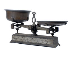 Consigned Antique Cast Iron Balance Scale - Sweet and Rustic - This decorative two-pan cast iron balance scale is perfect on its own or as a display for other items. We love the look of these, somewhere between rustic industrial and French Farmhouse. This sweet one is so adorable, it makes us swoon!