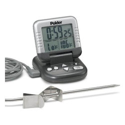 POLDER - Cooking Timer/thermometer, Graphite - This Both timer and meat thermometer can save the hides of novice and experienced cooks alike. It can alert you to that precise moment when a roast chicken has reached a safe cooked temperature but hasn�t yet gotten as dry as sofa batting. The digital LCD display shows current temperature, as well as desired temperature, so there's no guesswork.