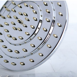 None - Three-tier 8-inch Chrome/ Polished Brass Showerhead - Take a shower that will actually wake you up in the morning with this large polished brass shower head. It will allow large amounts of water to cascade over your entire body at one time unlike other shower heads that only hit one spot on your head.