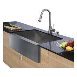 Vigo - Vigo Farmhouse Stainless Steel Kitchen Sink Faucet and Dispenser - Enhance your kitchen workspace with a Vigo Farmhouse Stainless Steel Kitchen Sink, Faucet and Dispenser