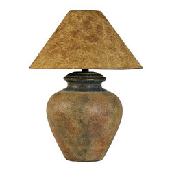 "Lamps Plus - Country - Cottage Handcrafted Southwest Terra Cotta Table Lamp - This large pot-shape table lamp bears a beautiful resemblance to the American Southwest. A warm terra cotta finish coats the handsomely mottled base and a faux hide shade rests up top in a complementing paprika hue. Rotary switch for easy operation. Handcrafted and made in the USA. Southwest table lamp. Hydrocal construction. Terra cotta finish. Faux hide shade in paprika. Handcrafted in the USA. Rotary switch. Takes one 100 watt 3-way bulb (not included). 28 3/4"" high. Shade is 6"" across the top 21"" across the bottom 10 1/2"" on the slant.  Southwest table lamp.  Hydrocal construction.  Terra cotta finish.  Faux hide shade in paprika.  Handcrafted in the USA.  Rotary switch.  Takes one 100 watt 3-way bulb (not included).  28 3/4"" high.  Shade is 6"" across the top 21"" across the bottom 10 1/2"" on the slant."