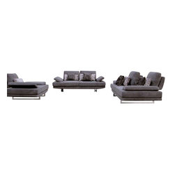 ESF - ESF 1174 Grey Microfiber Fabric 3 Piece Sofa Set With Adjustable Backrests - The ESF 1174 sofa set is a great addition for any living room that needs a touch of modern design. This sofa set comes upholstered in a plush grey microfiber fabric. High density foam is placed within the cushions for added comfort. Each piece features adjustable backrests for that added touch of relaxation. Only solid wood products were used when crafting the frame making the sofa set a very durable set.