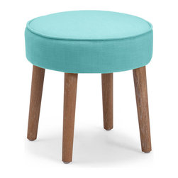 Zuo Accents - Britton Stool, Aqua - A mod accent piece for the adventurous decorator, the Britton Stool is bold and simple. Rich color, luxurious fabric, sleek modern and classic shape and the occasional subtle rustic feel all add up to outfit your livable style.