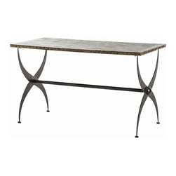"Arteriors - Falls Table - ""X"" marks the spot with this iron-based table. An ultra unique upgrade for your living room or foyer, the X-shaped iron legs are topped by an antique brass top, just right for displaying your vintage pottery collection and other weathered wonders."