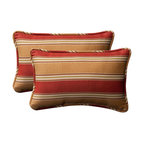 Pillow Perfect - Decorative Red/Gold Striped Toss Pillows Rectangle  Set of Two - - Red/Gold  - 100% Polyester  - 100% Virgin Recycled Polyester Fill  - Self-Cord Edge  - Fade Resistant Mildew Resistant UV Protection Water Resistant Weather Resistant  - Made in USA Pillow Perfect - 386829