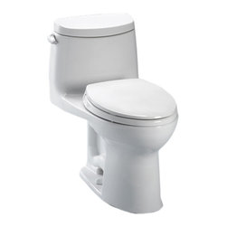 Toto - Toto MS604114CEFRG#01 White Ultramax II Toilet, Right Hand Trip Lever 1.28 GPF - The UltraMax collection gives your bath a modern, tapered design flow and classically simple style.