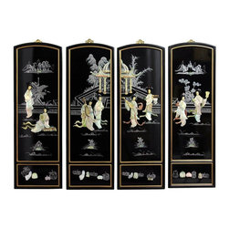 Oriental Furniture - Mother of Pearl Ladies Wall Plaques - Add a touch of the East to your home decor with these exquisite wall plaques.  Each set is individually crafted by an artisan in Guangdong and features a unique courtyard scene different from any other. Decorated with carved mother of pearl figures with hand painted details and finished with a rich lacquer, this art set will bring a sophisticated Oriental accent to your home.
