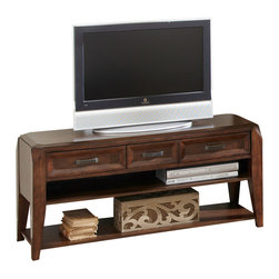 """Steve Silver Furniture - Steve Silver Wellington TV Cabinet in Espresso - The Wellington TV Cabinet conveys a sophisticated look that is sure to catch your eye. With distinctive features and a rich cherry finish this TV cabinet is an excellent addition to any room. The Wellington TV Cabinet stands 32"""" high, with a spacious 52"""" x 18"""" surface, three convenient storage drawers, and two shelves."""