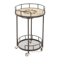 Notre Dame Mosaic Outdoor Serving Cart - Elegance and sophistication doesn't have to stop with patio dining and furniture sets and the Notre Dame Mosaic Outdoor Serving Cart shows that even the simplest of items can be truly beautiful. Made from hand forged wrought iron, the frame of this serving cart is dipped in a zinc-phosphate bath and E-coated to create a weather-resistant coating. It's finished with a powder coating to provide an extra layer of rust-resistant protection and it also creates a stronger, richer color. The expert craftsmanship of this serving cart is displayed in its hand-laid mosaic tiles on the top shelf. Made from natural sources such as marble, slate, and travertine, each tile varies slightly in color, resulting in a truly unique serving cart. The top is then grouted with industrial adhesives for durability so the natural beauty of this table is maintained. Under the top shelf is wine glass rack so you have a safe place to store your wine glasses without taking up precious space. A bottom shelf gives you additional storage space for bottles or dishes, while the wheels makes moving this serving cart from place to place easy. Ideal for serving your friends, setting up a serving station, or using for clean-up, this versatile serving cart helps to make entertaining easier, from set-up to clean-up. Additional Features Features a wine glass rack underneath top shelf Wheels on bottom makes it easy to move Bottom shelf is perfect for storage Cart frame is weather and rust resistant Made with rust proof stainless steel hardware Iron has a thickness of 5mm to 6mm Mosaic tiles are hand-set Tiles come from natural sources Sources include marble, slate, and travertine Colors will vary slightly on each cart No 2 carts are exactly alike Grouted with industrial adhesives for durability Easy to clean with mild soap and water Includes 1 serving cart Some assembly required 1 year limited warranty About Mosaic Table TopsThe mosaic tiles are hand-set and grouted with industrial adhesives for maximum durability. What this means is if the mosaic top gets wet, the grout won't dry out and crack like traditional standard grout would. The top is then finished and sealed with an industrial-grade sealant called Fluorocarbon for superior protection. Natural wear and tear of elements may lead to blistering of the silicone top seal and natural aging of the tile materials. The hand-forged wrought-iron table frame is dipped in a zinc-phosphate bath and then electrostatically coated to help create a weather-resistant coating to delay the onset of rust. Following a quality check for strength and durability, iron welds are ground for aesthetic appeal. Finally, a powder-coated finish is applied and baked onto the iron for stronger color and protection. As fetching as it is functional, this is a piece that will never go out of style. About Alfresco HomeOffering a wide selection of fashionable products, from casual furniture and garden lighting to permanent botanicals and seasonal decor, Alfresco Home casual living products offer a complete line of interior and exterior living furnishings and accents. Based out of King of Prussia, Penn., Alfresco Home continues to blend indoor and outdoor furniture to create a lifestyle of alfresco living inside and outside of the home. Inlaid mosaic tabletops, fine hardwood furnishings, artisan-inspired accents, premium silk botanicals, and all-weather wicker sets are just a few examples of the kind of treasures you'll find in Alfresco's specially designed collections.Please note this product does not ship to Pennsylvania.