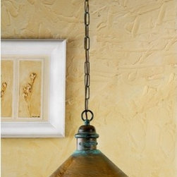 Pendant Light in Antique Green Finish -