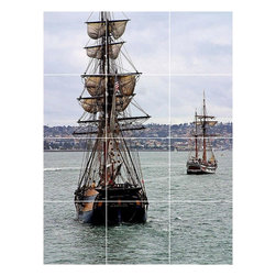 Picture-Tiles, LLC - Boat Ship Picture Kitchen Bathroom Ceramic Tile Mural  24 x 32 - * Boat Ship Picture Kitchen Bathroom Ceramic Tile Mural 1263
