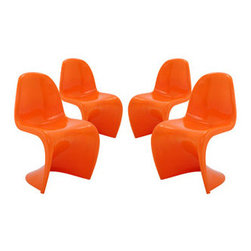 "LexMod - Slither Dining Side Chair Set of 4 in Orange - Slither Dining Side Chair Set of 4 in Orange - Sleek and sturdy, rock back and forth in comfort with this injection molded marvel. Constructed from a single piece of strong ABS plastic, the s shaped Slither chair can be found in many fashionable settings. Perfect for dining areas in need of a little zest, the design is versatile, fun and lively. Surprisingly cushy, choose from a selection of vibrant colors that wont fade over time. Slither is also perfect for spaces short on room. Set Includes: Four - Slither Dining Chair Tough ABS Construction, Stackable up to 4 High, Ergonomically Designed, Set of Four Chairs, No Assembly Required Overall Product Dimensions: 23""L x 19""W x 33""H Seat Height: 18""H - Mid Century Modern Furniture."