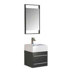 "CBI - CBI 22.5"" Wall-mount Bathroom Vanity Set in Espresso Finish AG-X029 - A brand-new arrival, and another ConceptBaths bathroom exclusive - the Wall-Hung single bathroom vanity. At 22.5"" wide it's perfect for a powder room remodel, a master bathroom or even double-up for an incredible his/hers look."