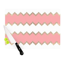 "Kess InHouse - Monika Strigel ""Avalon Coral Chevron"" White Blush Cutting Board (11.5"" x 15.75"") - These sturdy tempered glass cutting boards will make everything you chop look like a Dutch painting. Perfect the art of cooking with your KESS InHouse unique art cutting board. Go for patterns or painted, either way this non-skid, dishwasher safe cutting board is perfect for preparing any artistic dinner or serving. Cut, chop, serve or frame, all of these unique cutting boards are gorgeous."